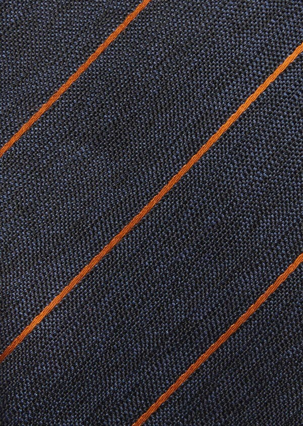 Cravate club fine en soie bleue et orange - Father and Sons 37766