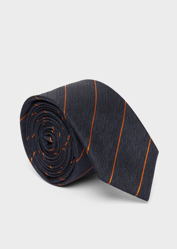 Cravate club fine en soie bleue et orange - Father and Sons 37765