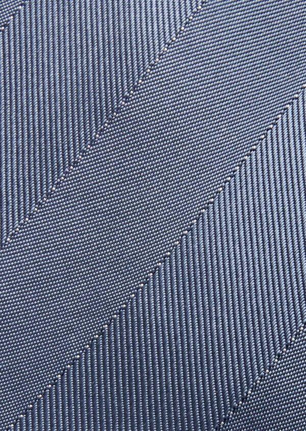 Cravate fine en soie bleue à rayures ton sur ton - Father and Sons 37806