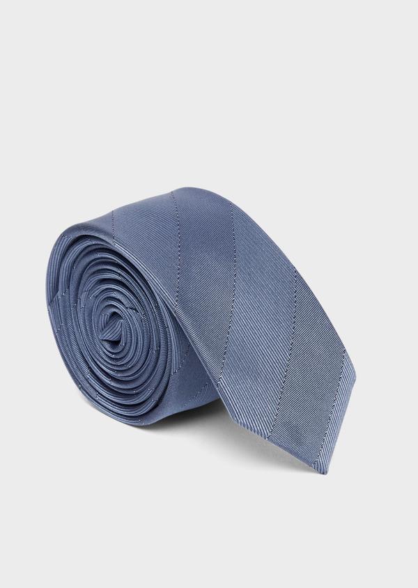Cravate fine en soie bleue à rayures ton sur ton - Father and Sons 37805