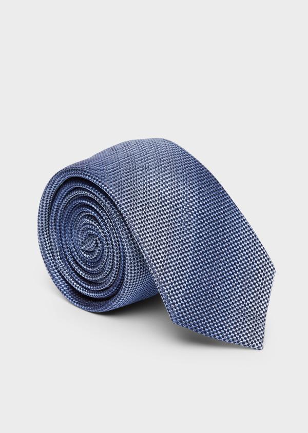 Cravate fine en soie à rayures bleues - Father and Sons 37833