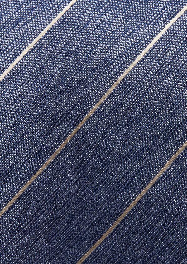 Cravate club fine en soie bleu et marron - Father and Sons 37838