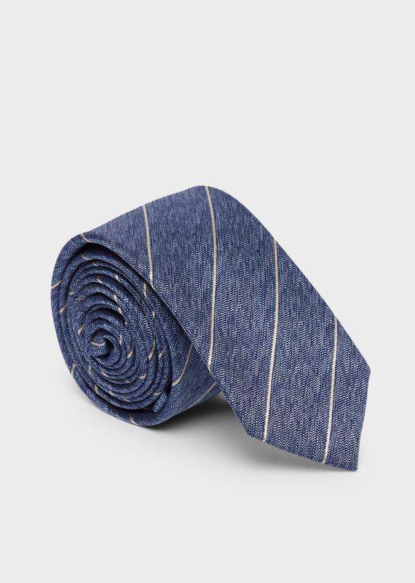 Cravate club fine en soie bleu et marron - Father and Sons 37837