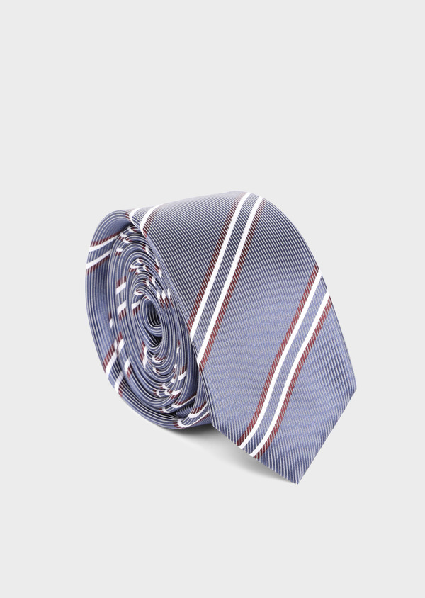Cravate club fine en soie bleu chambray et rouge - Father and Sons 35154
