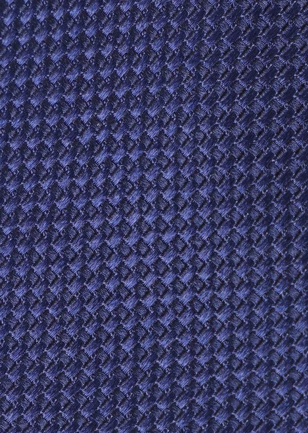 Cravate fine en soie à motif fantaisie ton sur ton bleu - Father and Sons 35163