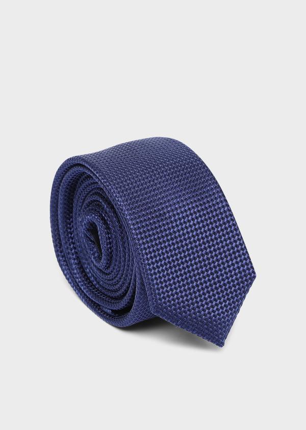 Cravate fine en soie à motif fantaisie ton sur ton bleu - Father and Sons 35162