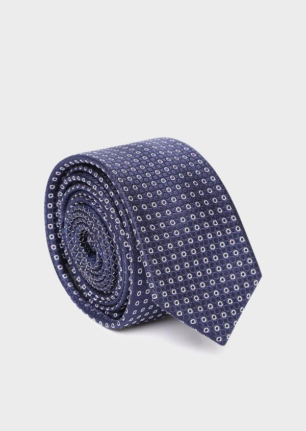 Cravate fine en soie bleue à motifs géomériques écrus - Father and Sons 35186
