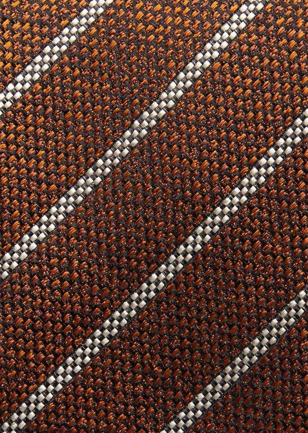 Cravate club fine en soie marron et blanc - Father and Sons 37772