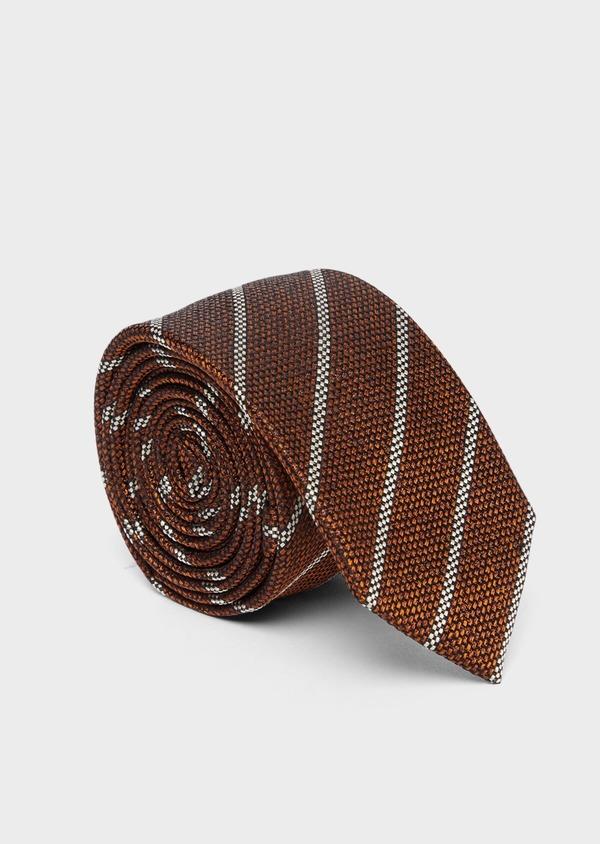 Cravate club fine en soie marron et blanc - Father and Sons 37771