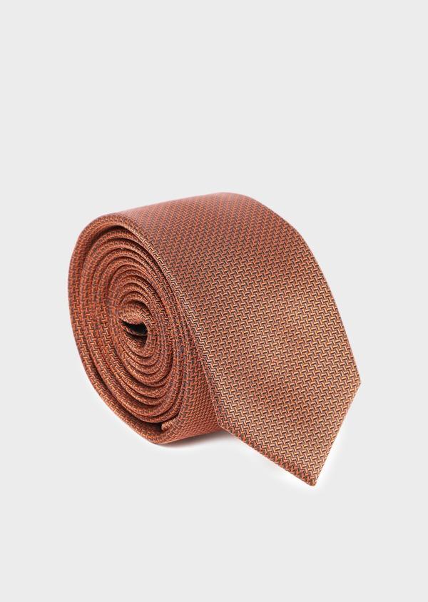 Cravate fine en soie à motif fantaisie orange - Father and Sons 35206