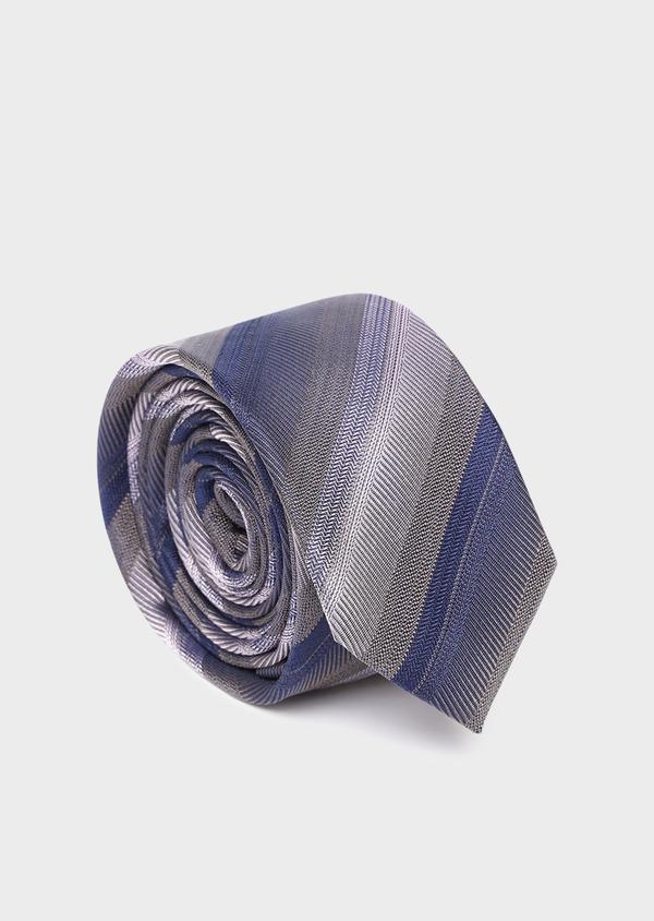 Cravate club fine en soie taupe et bleu - Father and Sons 35176