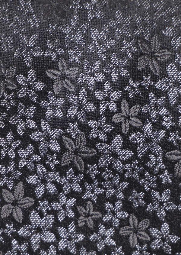 Cravate fine en soie à motif fleuri gris anthracite - Father and Sons 35107