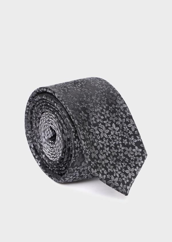 Cravate fine en soie à motif fleuri gris anthracite - Father and Sons 35106