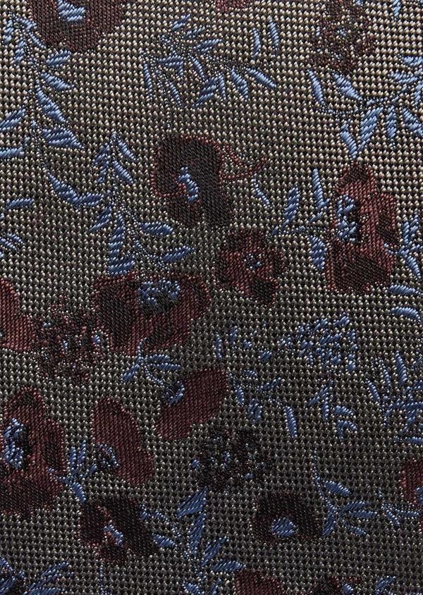 Cravate fine en soie grise à motif fleuri bleu et rose - Father and Sons 37760