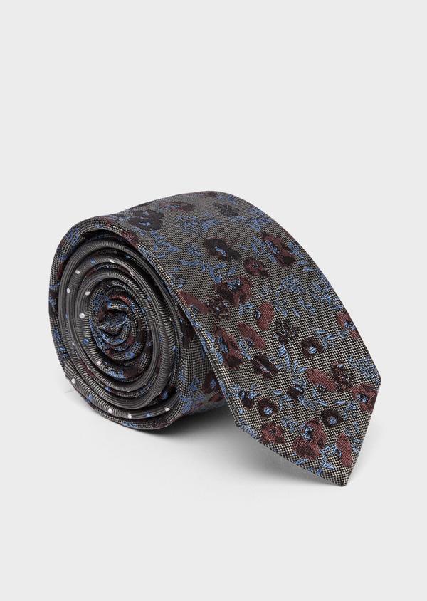 Cravate fine en soie grise à motif fleuri bleu et rose - Father and Sons 37759