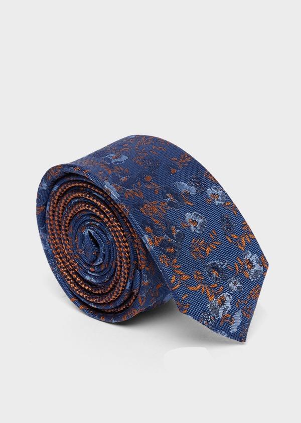 Cravate fine en soie bleu indigo à motif fleuri orange et bleu - Father and Sons 37769