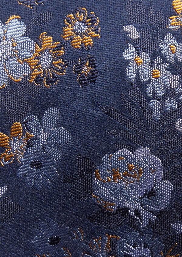 Cravate fine en soie bleu marine à motif fleuri - Father and Sons 36314