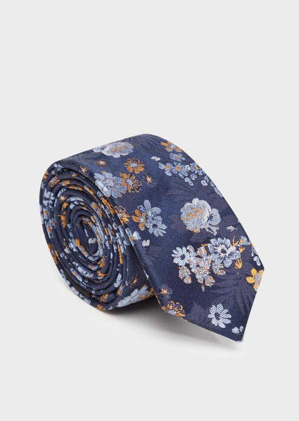 Cravate fine en soie bleu marine à motif fleuri - Father and Sons 36313