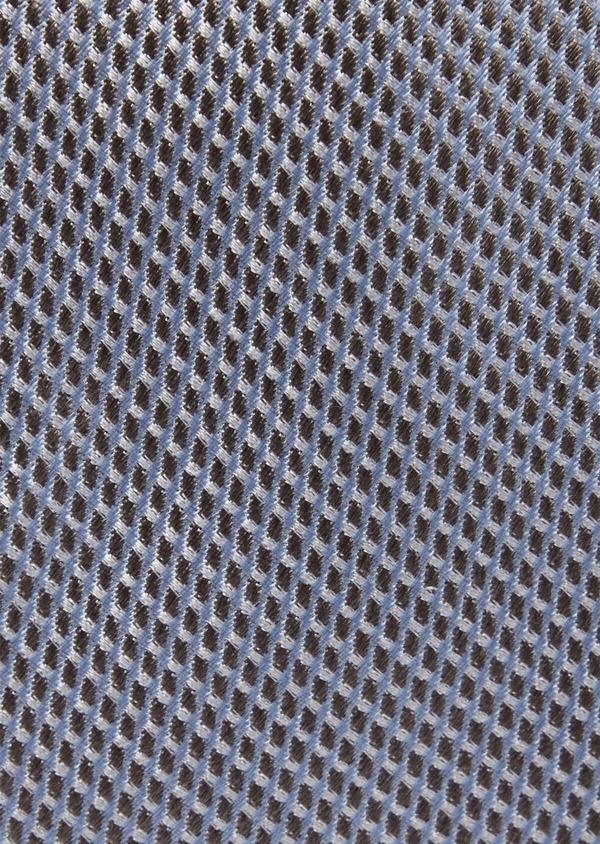Cravate fine en soie à motifs géométriques beige et bleu - Father and Sons 37832
