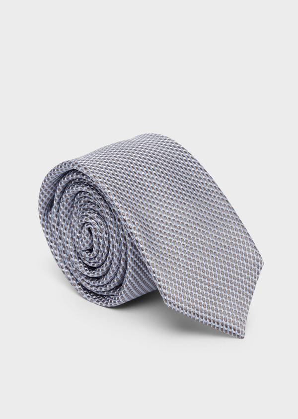 Cravate fine en soie à motifs géométriques beige et bleu - Father and Sons 37831