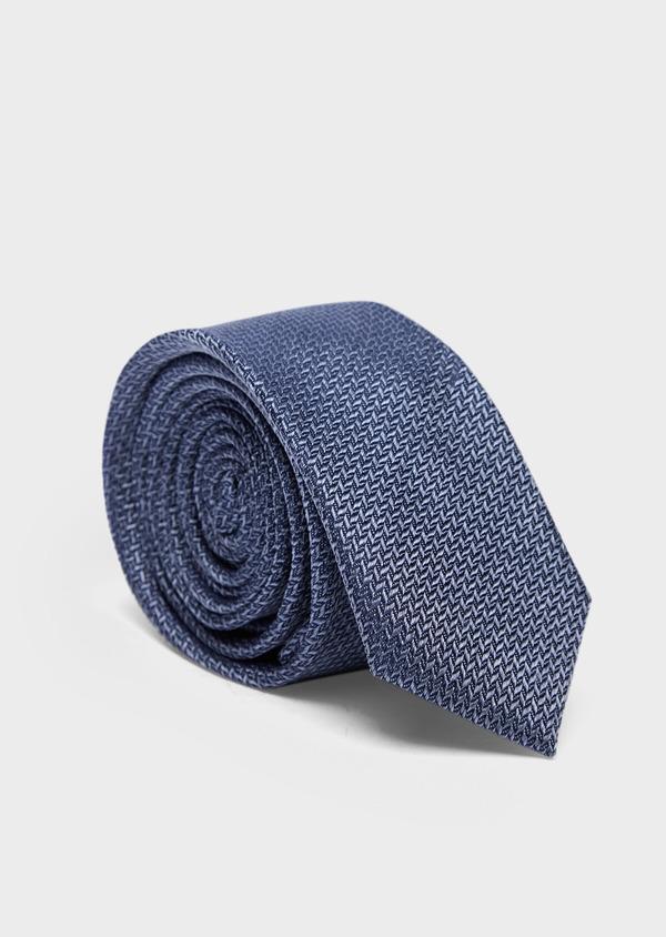Cravate fine en soie bleue à motifs géométriques - Father and Sons 37887