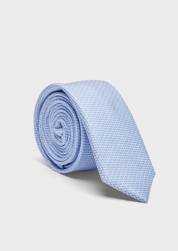 Cravate fine en soie à motifs géométriques bleu ciel et blanc - Father and Sons 37895