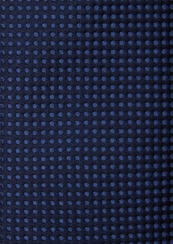 Cravate fine en soie bleue à motifs géométriques ton sur ton - Father and Sons 37904