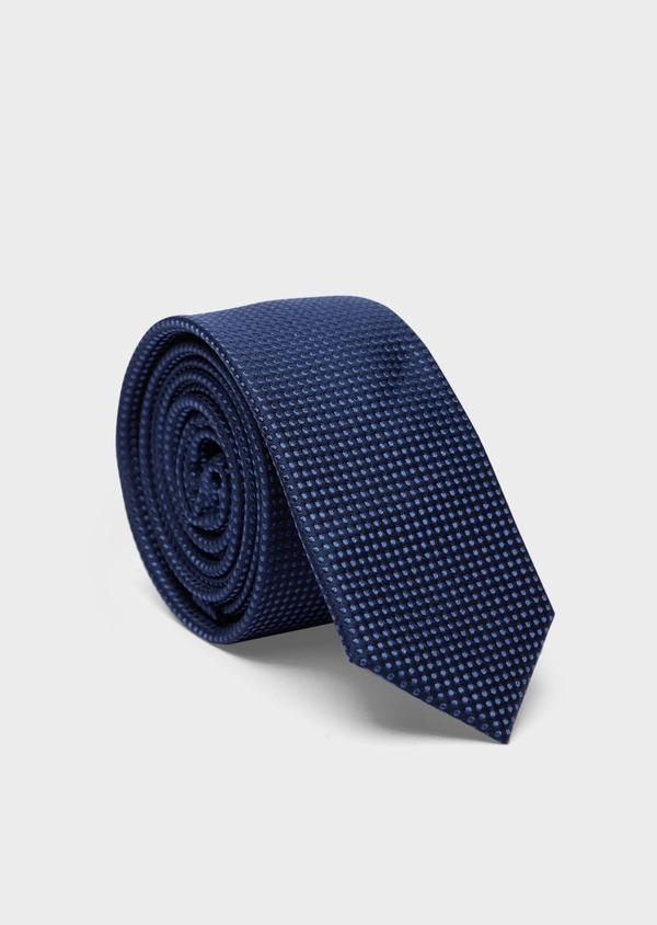 Cravate fine en soie bleue à motifs géométriques ton sur ton - Father and Sons 37903