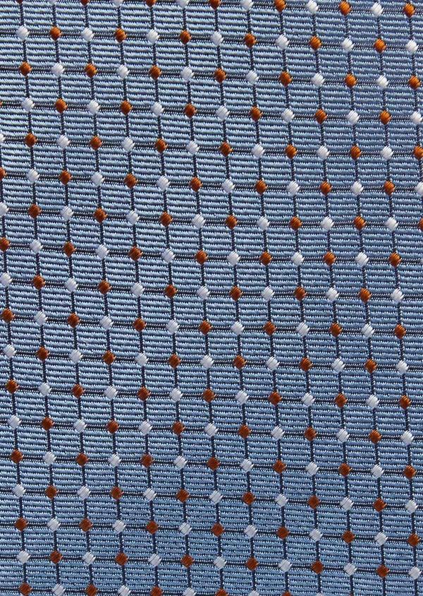 Cravate fine en soie bleue à motifs géométriques orange et blanc - Father and Sons 37776