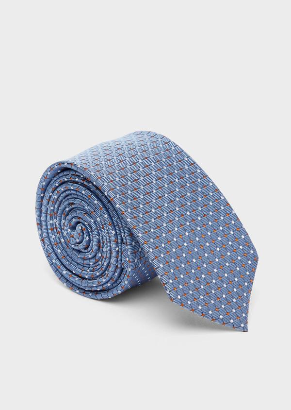 Cravate fine en soie bleue à motifs géométriques orange et blanc - Father and Sons 37775