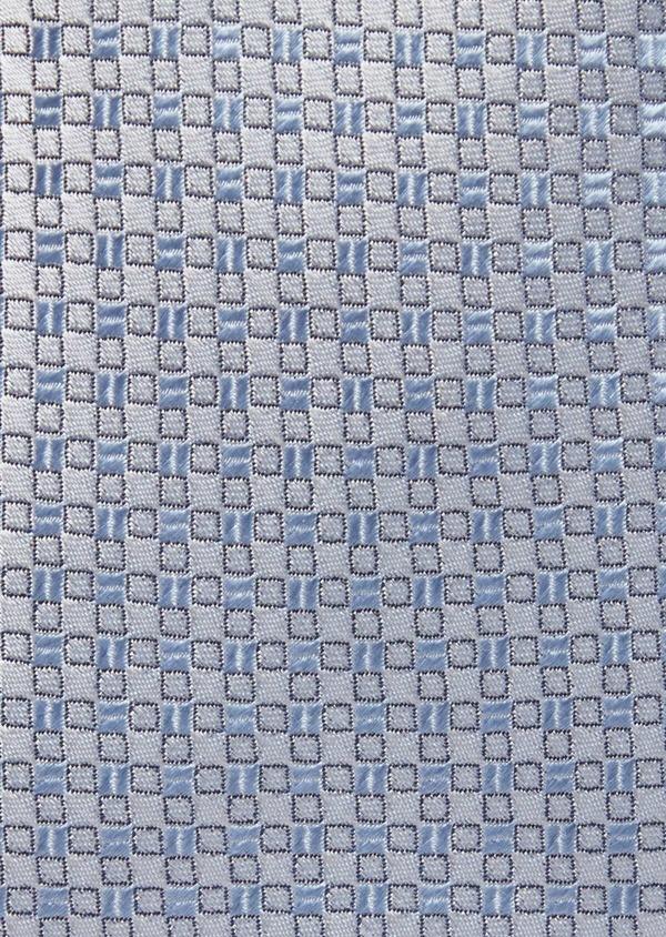 Cravate fine en soie à motifs géométriques bleu ciel et gris - Father and Sons 37800