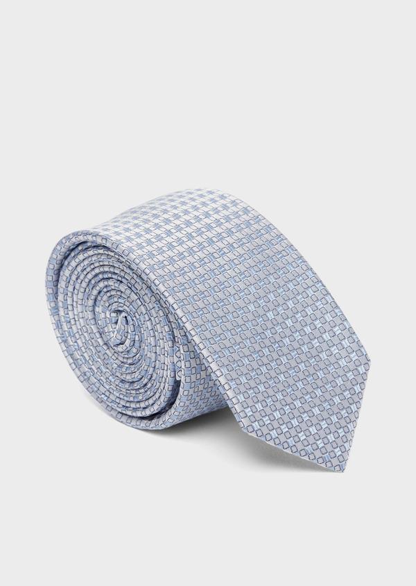 Cravate fine en soie à motifs géométriques bleu ciel et gris - Father and Sons 37799
