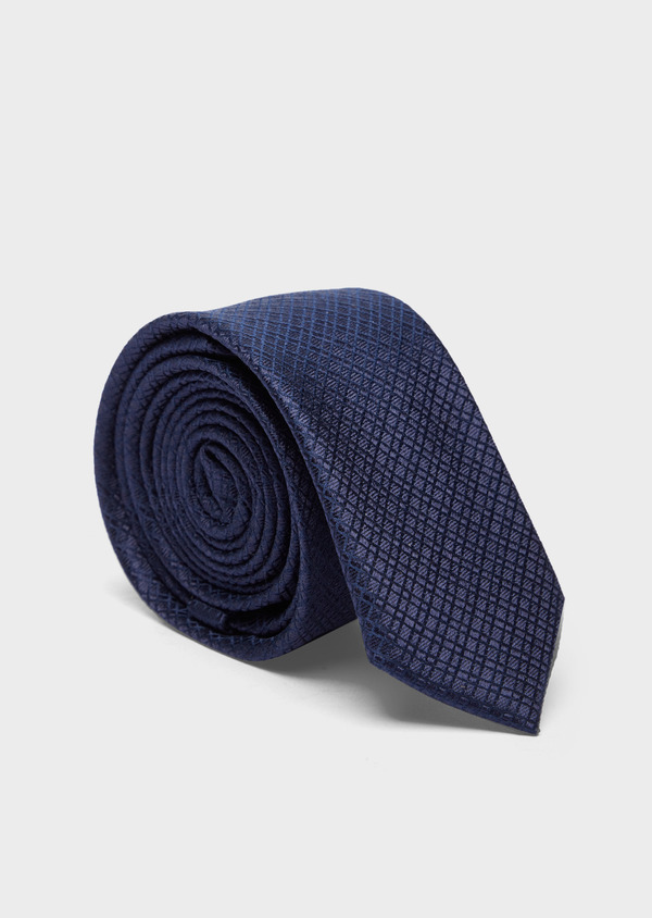 Cravate fine en soie bleu marine à motifs géométriques - Father and Sons 37893