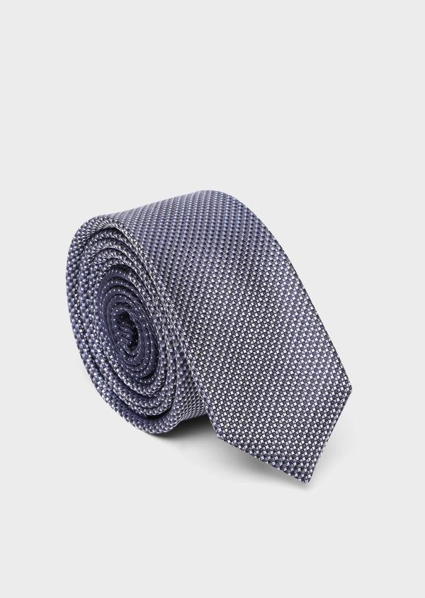 Cravate fine en soie à motifs géométriques marine et bleu ciel - Father and Sons 35120
