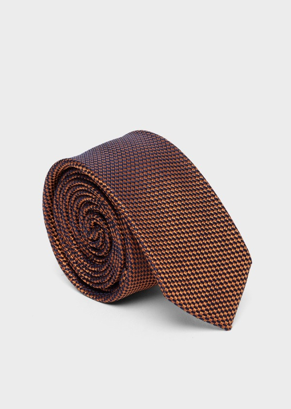 Cravate fine en soie à motifs géométriques marron et bleu - Father and Sons 37773