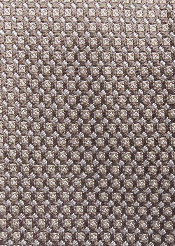 Cravate fine en soie rose à motifs géométriques marron - Father and Sons 38989