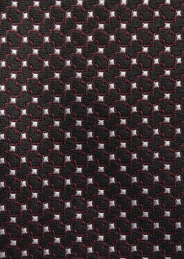 Cravate fine en soie noire à motifs géométriques bordeaux et blanc - Father and Sons 37826