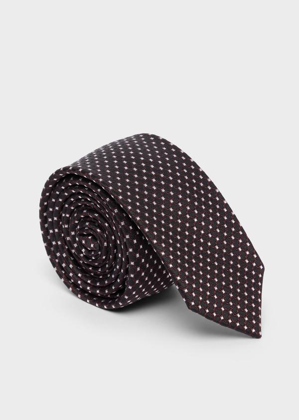 Cravate fine en soie noire à motifs géométriques bordeaux et blanc - Father and Sons 37825