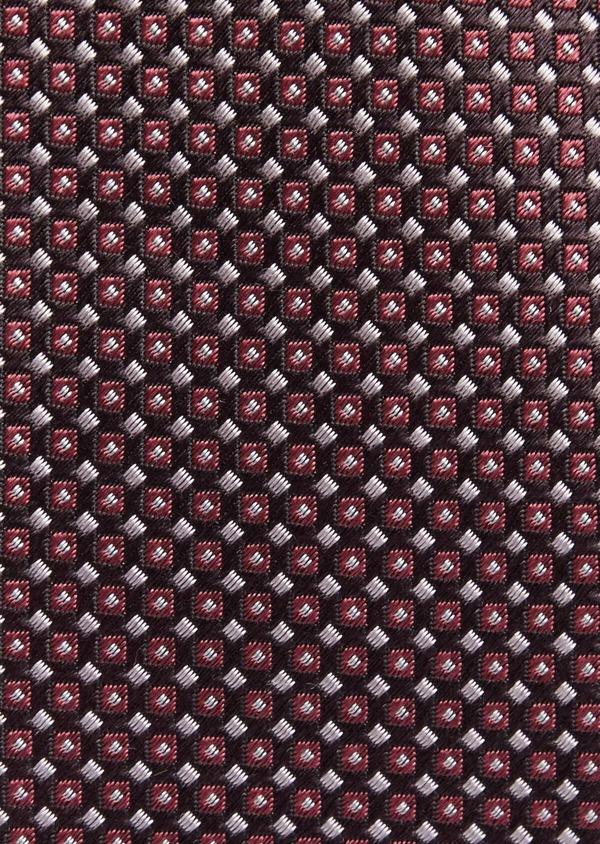 Cravate fine en soie grise à motifs géométriques rose - Father and Sons 37750