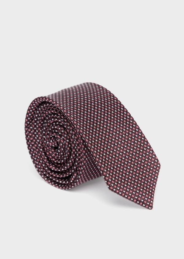 Cravate fine en soie grise à motifs géométriques rose - Father and Sons 37749