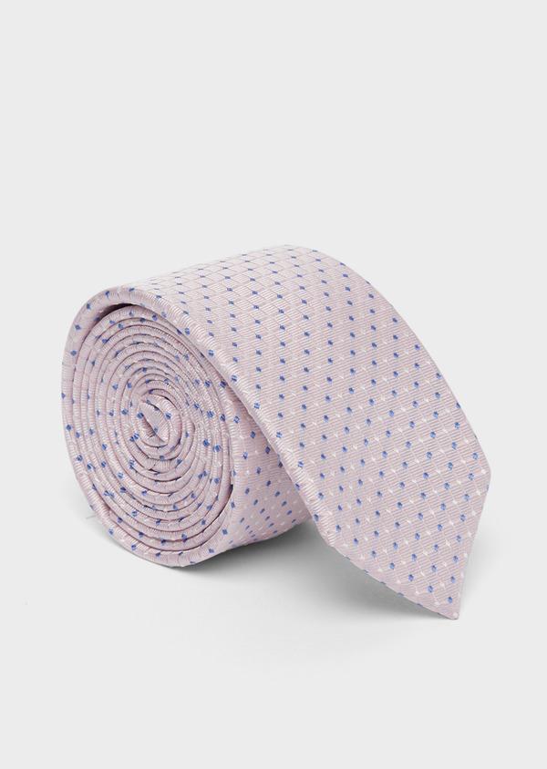 Cravate fine en soie rose à motifs géométriques bleu et blanc - Father and Sons 37761