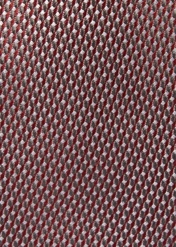 Cravate fine en soie bordeaux à motifs géométriques gris - Father and Sons 37824