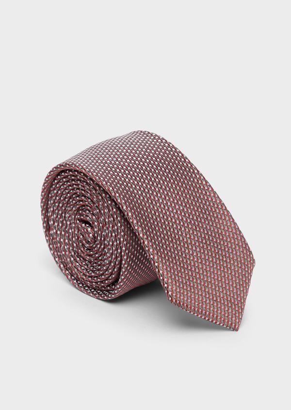 Cravate fine en soie bordeaux à motifs géométriques gris - Father and Sons 37823