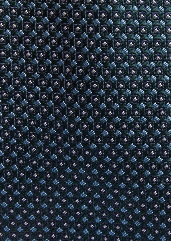 Cravate fine en soie verte à motifs géométriques bleu et blanc - Father and Sons 37788