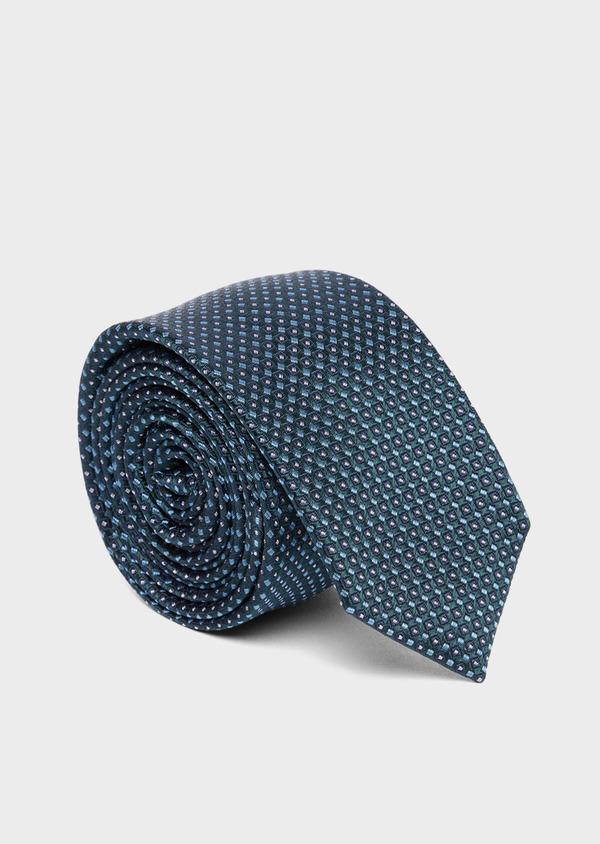 Cravate fine en soie verte à motifs géométriques bleu et blanc - Father and Sons 37787