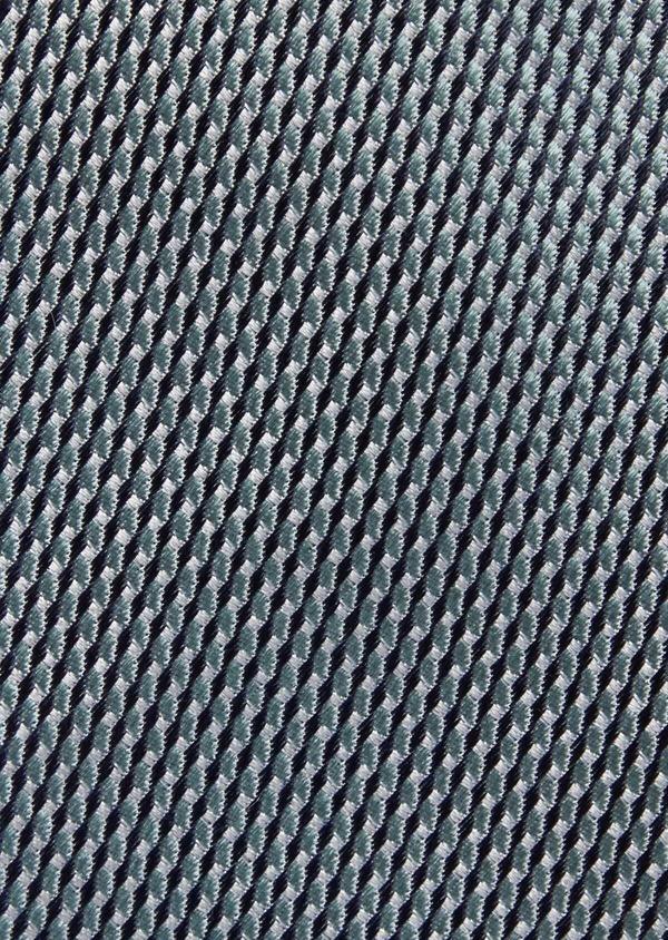 Cravate fine en soie à motifs géométriques vert - Father and Sons 37792