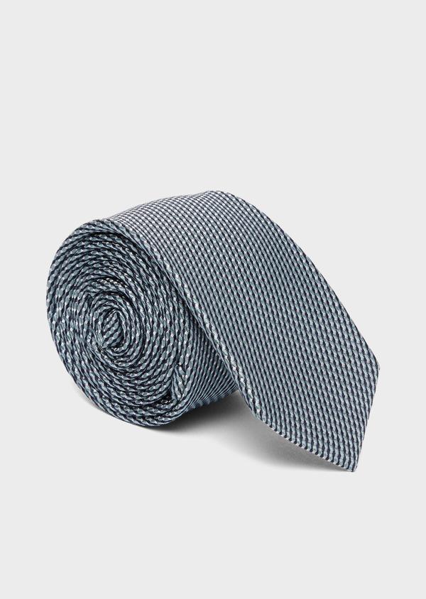 Cravate fine en soie à motifs géométriques vert - Father and Sons 37791