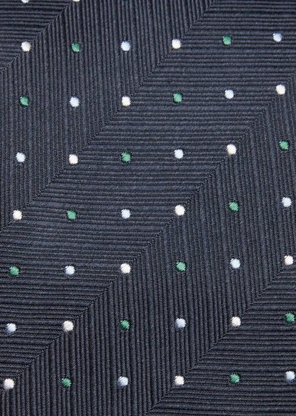 Cravate fine en soie bleue à pois vert et blanc - Father and Sons 37790