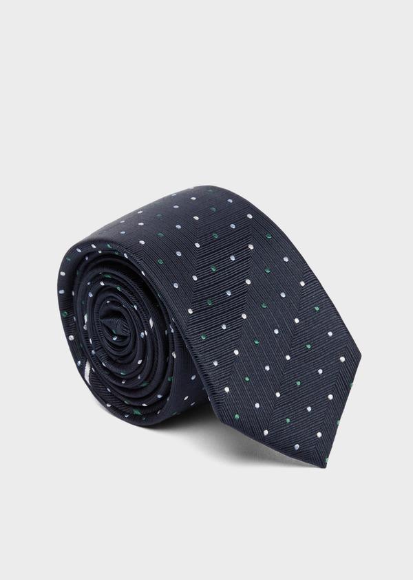 Cravate fine en soie bleue à pois vert et blanc - Father and Sons 37789