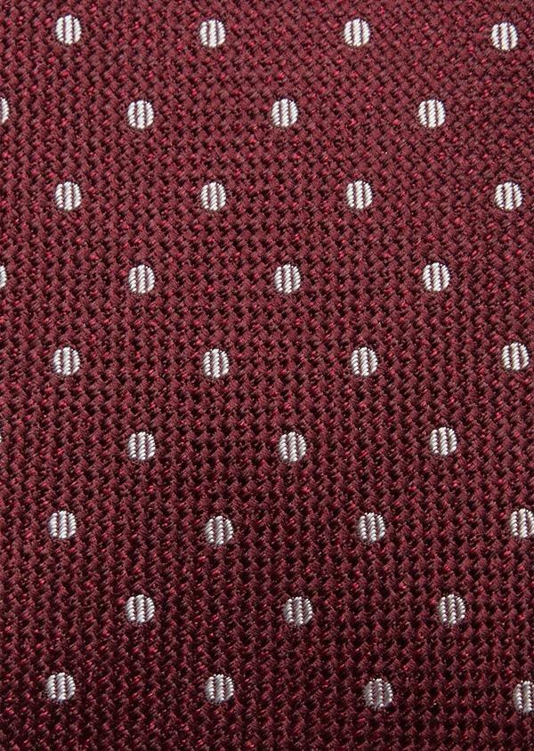 Cravate fine en soie bordeaux à pois blancs - Father and Sons 37816